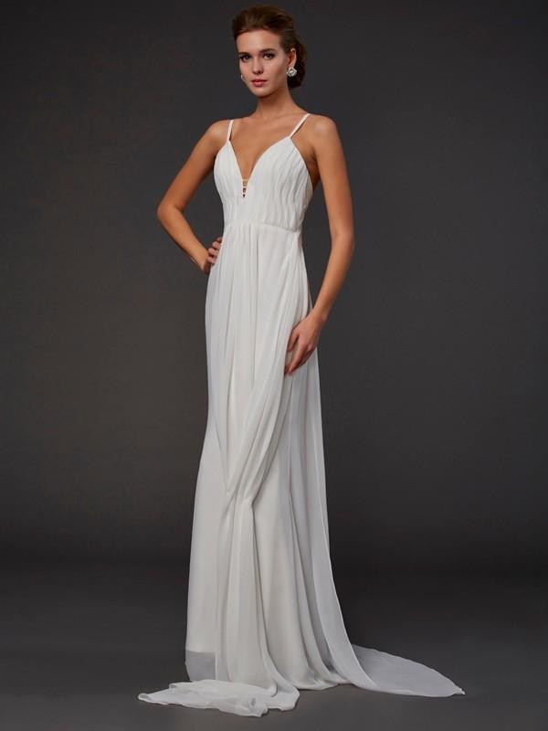 Trumpet/Mermaid V-neck Sleeveless Ruffles Long Chiffon Dresses