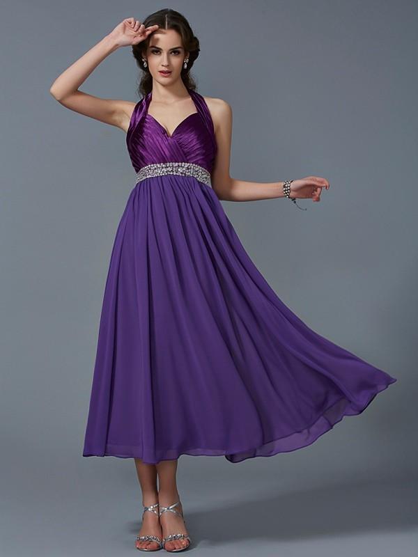 A-Line/Princess Halter Sleeveless Beading Long Chiffon Bridesmaid Dresses