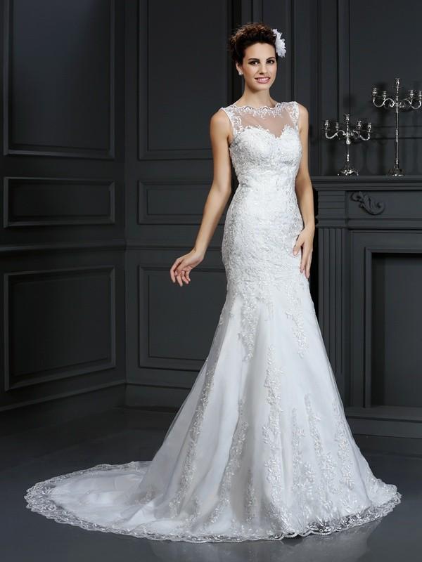 Sheath/Column Bateau Lace Sleeveless Long Satin Wedding Dresses