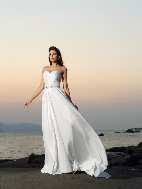 A-Line/Princess Sweetheart Beading Sleeveless Long Taffeta Beach Wedding Dresses