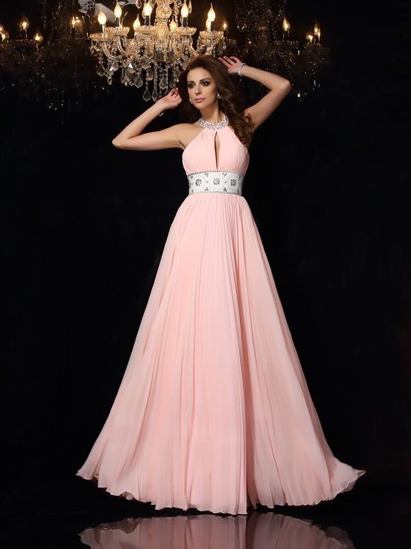 A-Line/Princess High Neck Pleats Sleeveless Long Chiffon Dresses