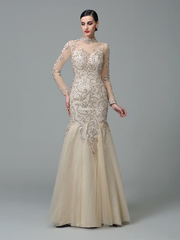 Sheath/Column High Neck Applique Long Sleeves Long Net Dresses