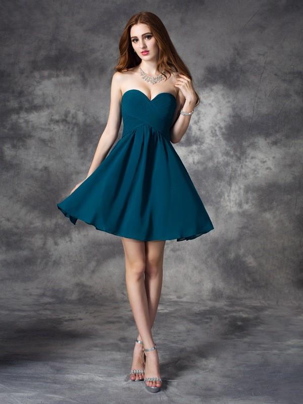 A-line/Princess Sweetheart Ruffles Sleeveless Short Chiffon Dresses