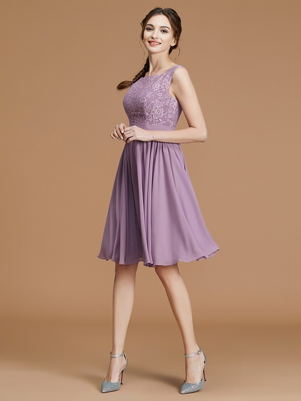 A-Line/Princess Bateau Sleeveless Short/Mini Lace Chiffon Bridesmaid Dresses