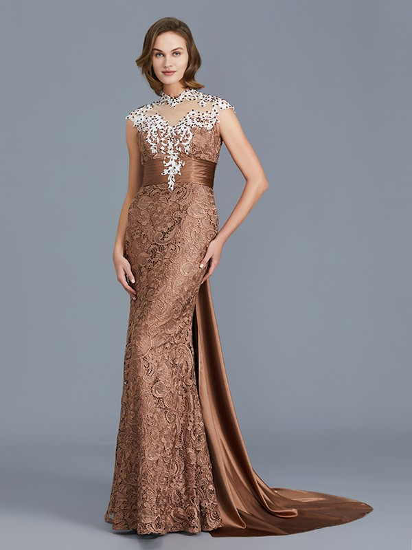 Trumpet/Mermaid Scoop Sleeveless Beading Lace Floor-Length Mother of the Bride Dresses