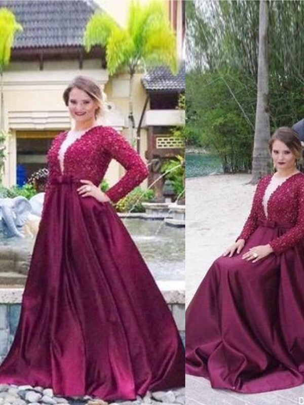 A-Line/Princess V-neck Long Sleeves Beading Sweep/Brush Train Satin Plus Size Dresses