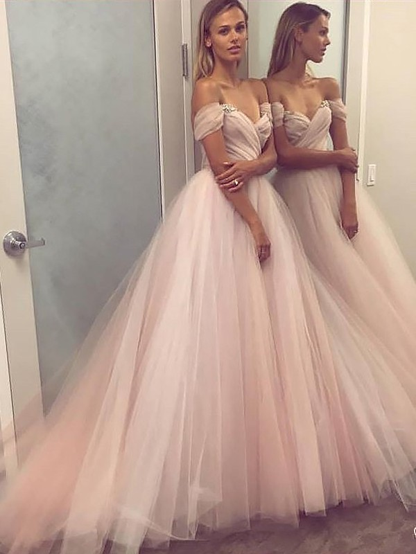 A-Line/Princess Sleeveless Off-the-Shoulder Tulle Beading Floor-Length Dresses