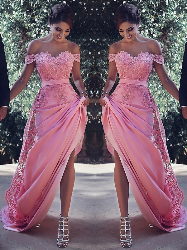 Sheath/Column Off-the-Shoulder Sleeveless Sweep/Brush Train Silk Like Satin Dresses