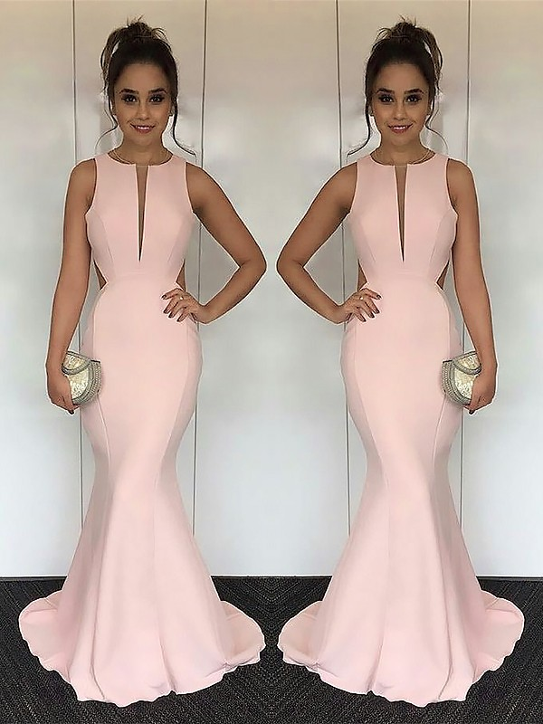 Mermaid Jewel Sleeveless Sweep/Brush Train With Ruched Satin Dresses