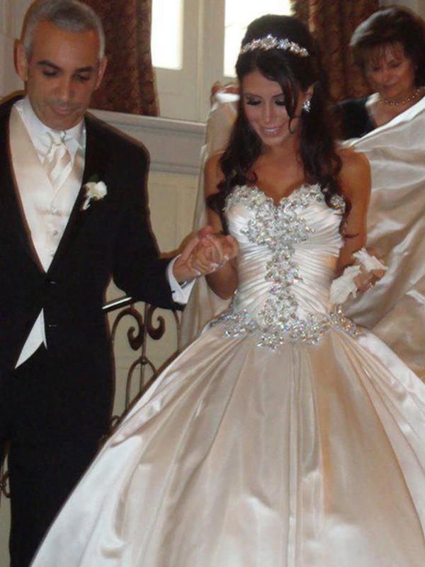 Ball Gown Taffeta Sweetheart Ruffles Sleeveless Cathedral Train Wedding Dresses