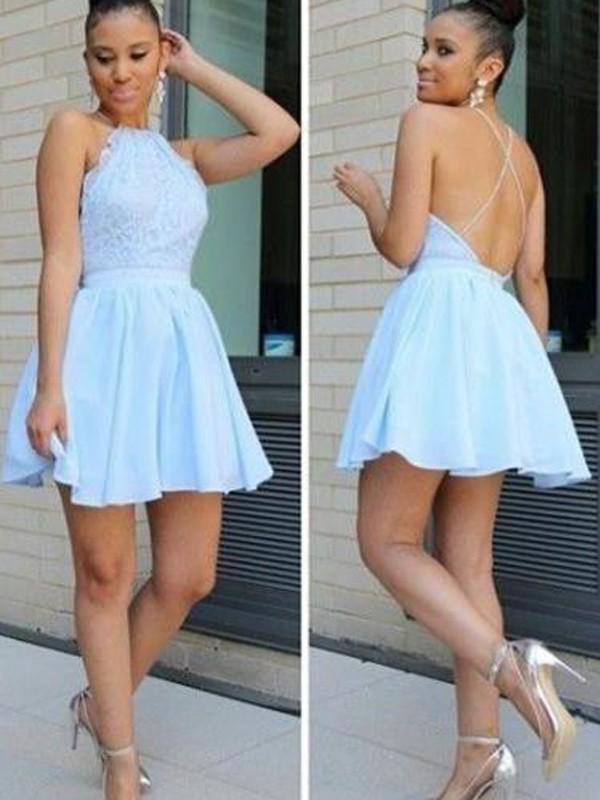 A-Line/Princess Halter Sleeveless Lace Short/Mini Chiffon Dresses