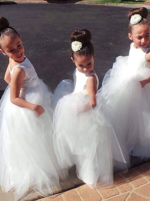 Ball Gown Jewel Sleeveless Floor-Length Tulle Flower Girl Dresses