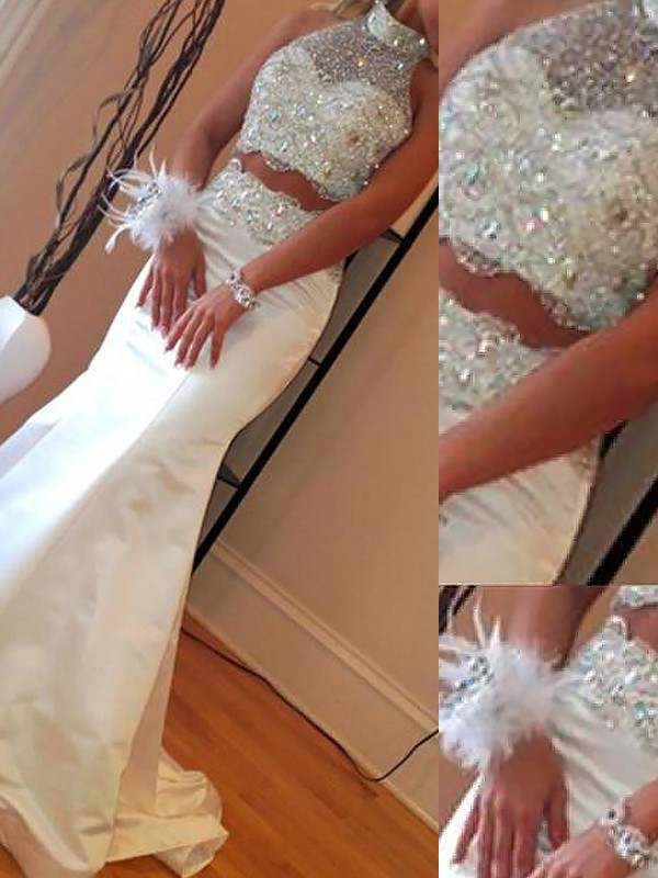 Trumpet/Mermaid High Neck Sleeveless Satin Beading Sweep/Brush Train Two Piece Dresses