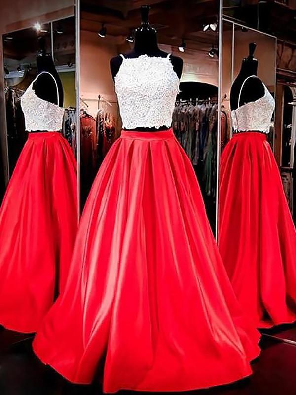 A-Line/Princess Spaghetti Straps Sleeveless Satin Floor-Length Lace Two Piece Dresses
