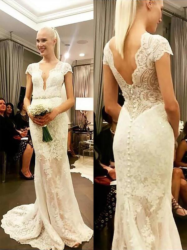 Sheath/Column V-neck Lace Short Sleeves Sweep/Brush Train Wedding Dresses