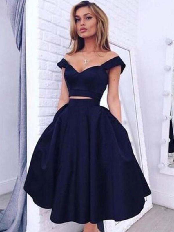 A-Line/Princess Off-the-Shoulder Sleeveless Tea-Length Satin Two Piece Dresses