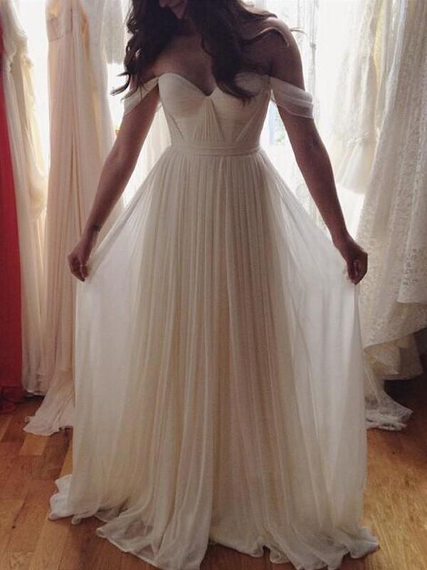 A-Line/Princess Sleeveless Off-the-Shoulder Beading Floor-Length Chiffon Dresses