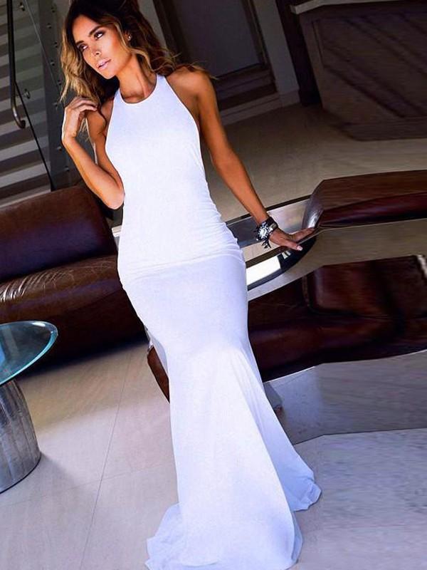 Sheath/Column Scoop Sleeveless Sweep Train Chiffon Dresses
