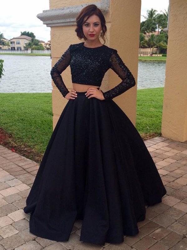 Ball Gown Long Sleeves Scoop Floor-Length Satin Beading Dresses