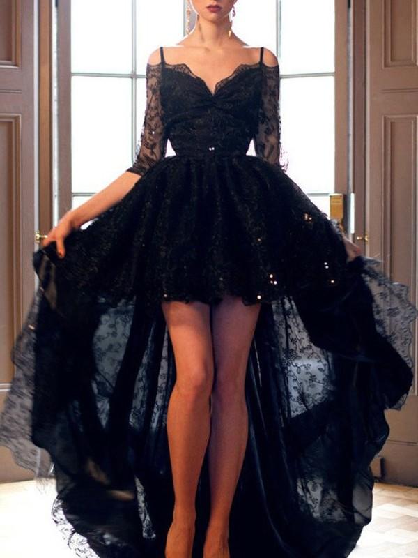 A-Line/Princess Spaghetti Straps Sleeveless High Low Lace Dresses