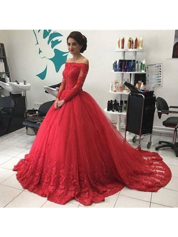 Ball Gown Off-the-Shoulder Long Sleeves Lace Tulle Court Train Dresses