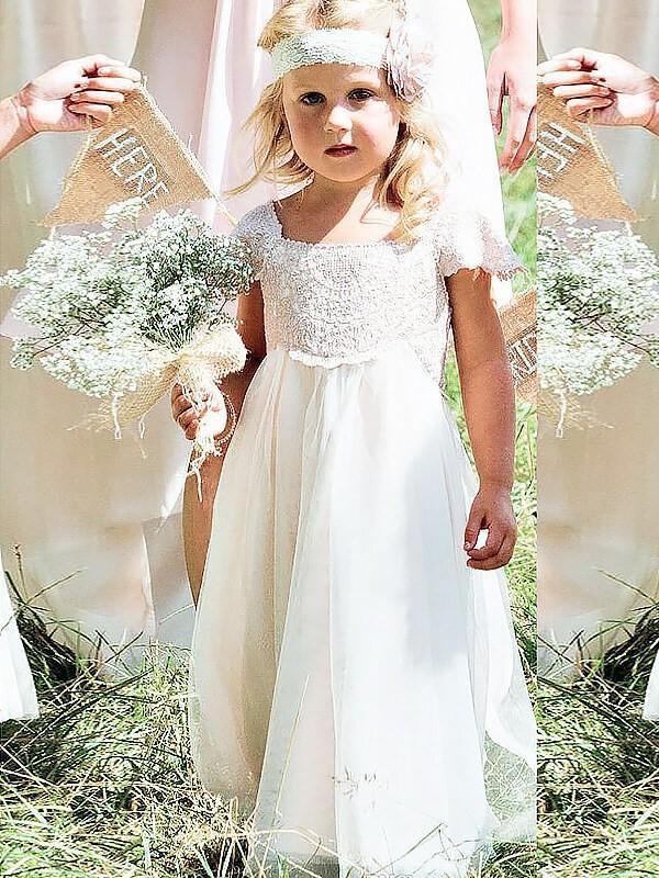 A-line/Princess Square Short Sleeves Lace Floor-Length Chiffon Flower Girl Dresses