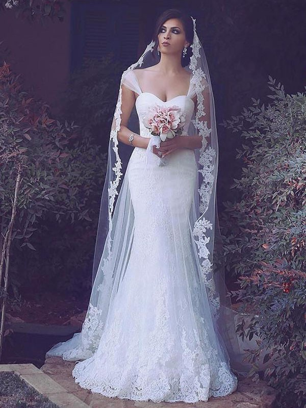 Trumpet/Mermaid Tulle Sleeveless Sweep/Brush Train Straps Wedding Dresses