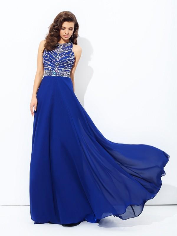 22856bba5fed A-line/Princess Scoop Beading Sleeveless Long Chiffon Dresses ...