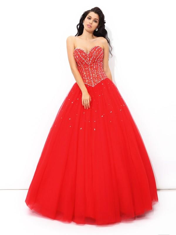 50cf629486b Ball Gown Sweetheart Beading Sleeveless Long Net Quinceanera Dresses ...