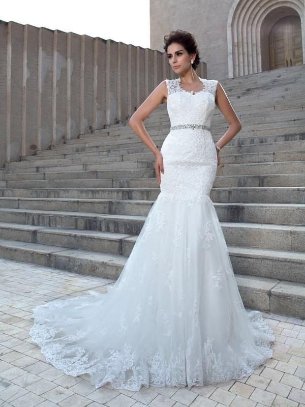 4b90ce1eb4a22 Trumpet/Mermaid V-neck Applique Sleeveless Long Lace Wedding Dresses ...