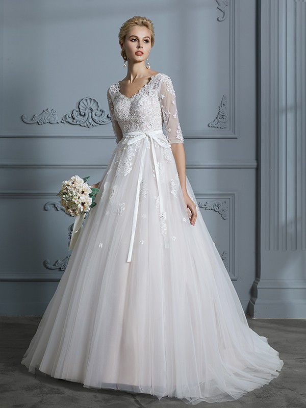 d0a0f8a939a8 Ball Gown V-neck Court Train 1/2 Sleeves Lace Tulle Wedding Dresses ...