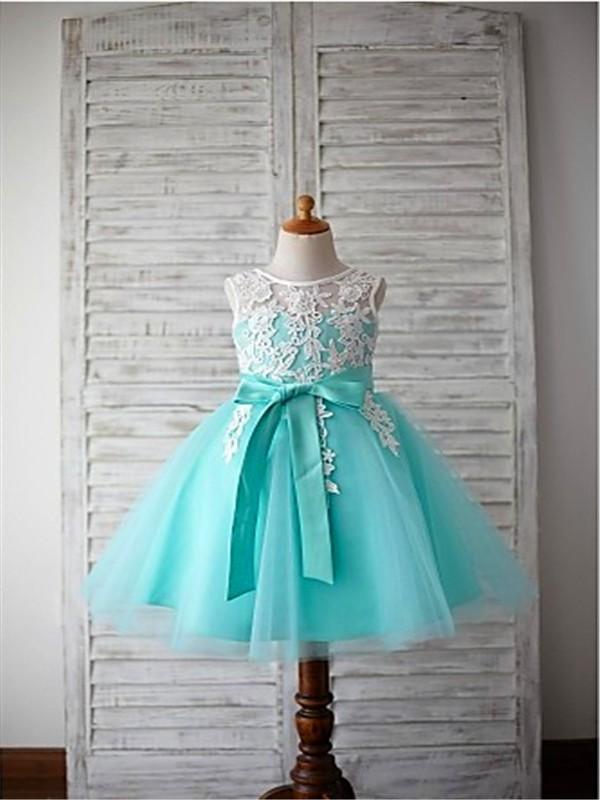 fc7f3093e54 Ball Gown Scoop Sleeveless Bowknot Floor-Length Tulle Flower Girl Dresses