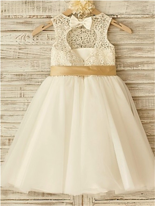 7923102a054 ... A-line Princess Scoop Sleeveless Bowknot Floor-Length Tulle Flower Girl  Dresses ...