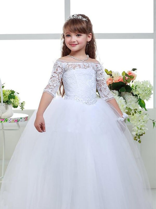 2bf5519c759 Ball Gown Off-the-Shoulder 1 2 Sleeves Lace Floor-Length Tulle ...