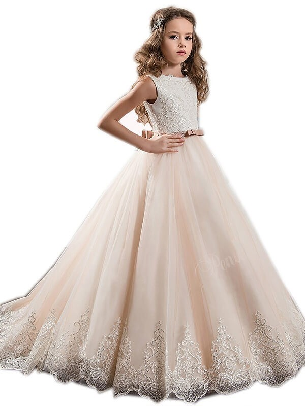 d3bc58dd847 Ball Gown Jewel Sleeveless Lace Sweep Train Tulle Flower Girl Dresses