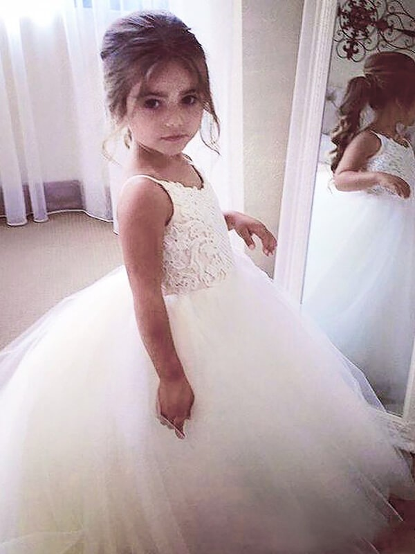 1f6d34d50f Ball Gown Jewel Sleeveless Lace Floor-Length Tulle Flower Girl Dresses