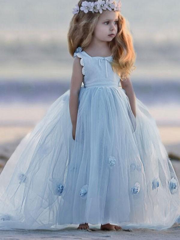 fdf9d5251aa Ball Gown Bateau Sleeveless Hand-Made Flower Floor-Length Tulle Flower Girl  Dresses