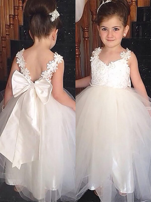 0bc9032b6eb6f Ball Gown Sweetheart Sleeveless Bowknot Floor-Length Tulle Flower Girl  Dresses