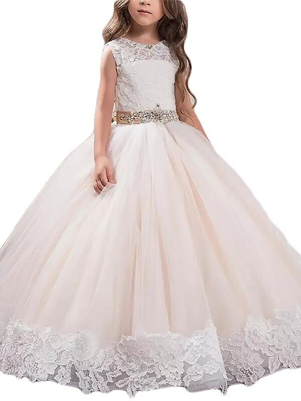 6dce8b7c39 Ball Gown Scoop Sleeveless Lace Floor-Length Tulle Flower Girl Dresses