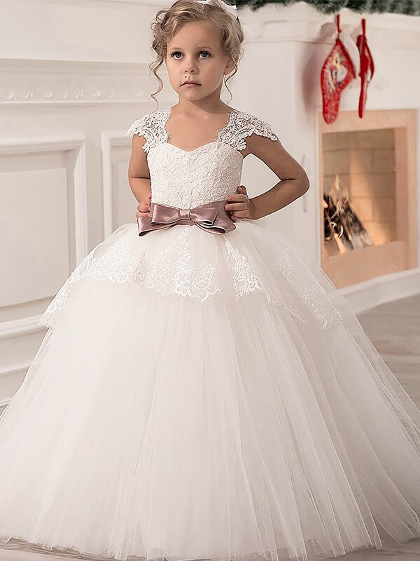 9ff65dbe01 Ball Gown Straps Sleeveless Sash Ribbon Belt Tulle Floor-Length Flower Girl  Dresses
