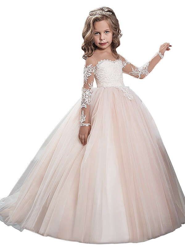 03c552cc239921 Ball Gown Scoop Long Sleeves Sweep Train Tulle Flower Girl Dresses ...