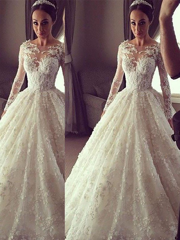 611ba1f11dd8 Ball Gown Long Sleeves Scoop Court Train Lace Wedding Dresses ...