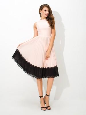 A-Line/Princess High Neck Lace Sleeveless Short Chiffon Cocktail Dresses