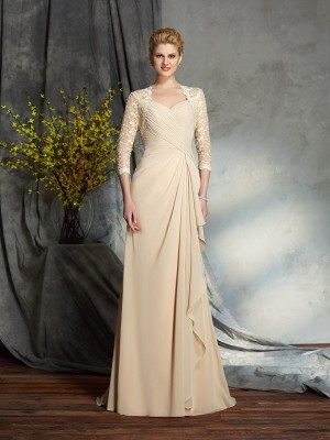 A-Line/Princess Sweetheart Lace 3/4 Sleeves Long Chiffon Mother of the Bride Dresses