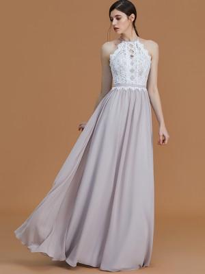 A-Line/Princess Halter Sleeveless Floor-Length Lace Chiffon Bridesmaid Dresses