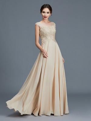 A-Line/Princess Scoop Sleeveless Ruffles Chiffon Floor-Length Mother of the Bride Dresses