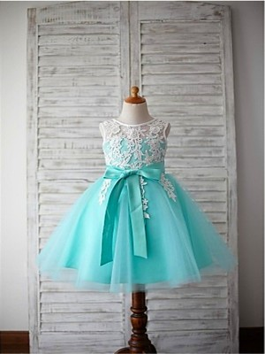 Ball Gown Scoop Sleeveless Bowknot Tea-Length Tulle Flower Girl Dresses