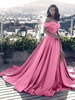 A-Line/Princess Sleeveless Off-the-Shoulder Ruffles Satin Court Train Dresses