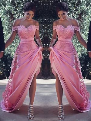 Sheath/Column Off-the-Shoulder Sleeveless Sweep/Brush Train Silk Like Satin Dresses