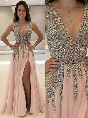 A-Line/Princess V-Neck Sleeveless Sweep Train Beading Tulle Dresses